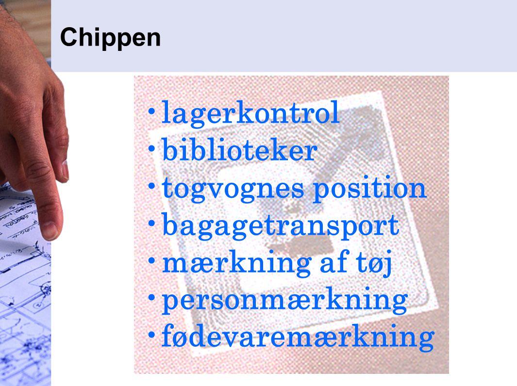 Chippen lagerkontrol biblioteker togvognes position bagagetransport mærkning af tøj personmærkning fødevaremærkning