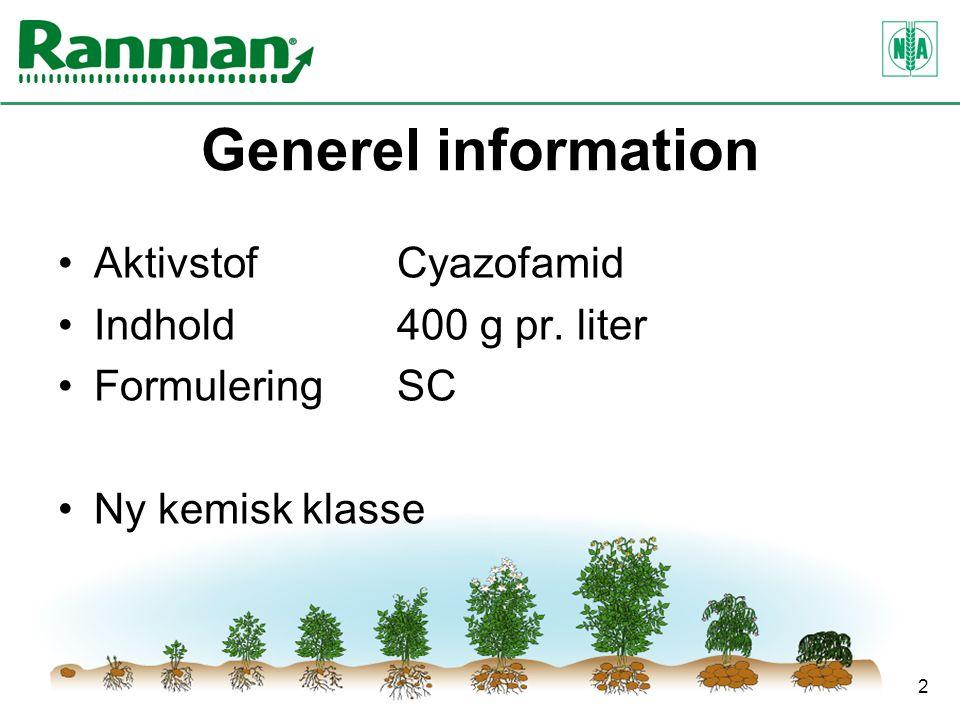 2 Generel information AktivstofCyazofamid Indhold400 g pr. liter FormuleringSC Ny kemisk klasse