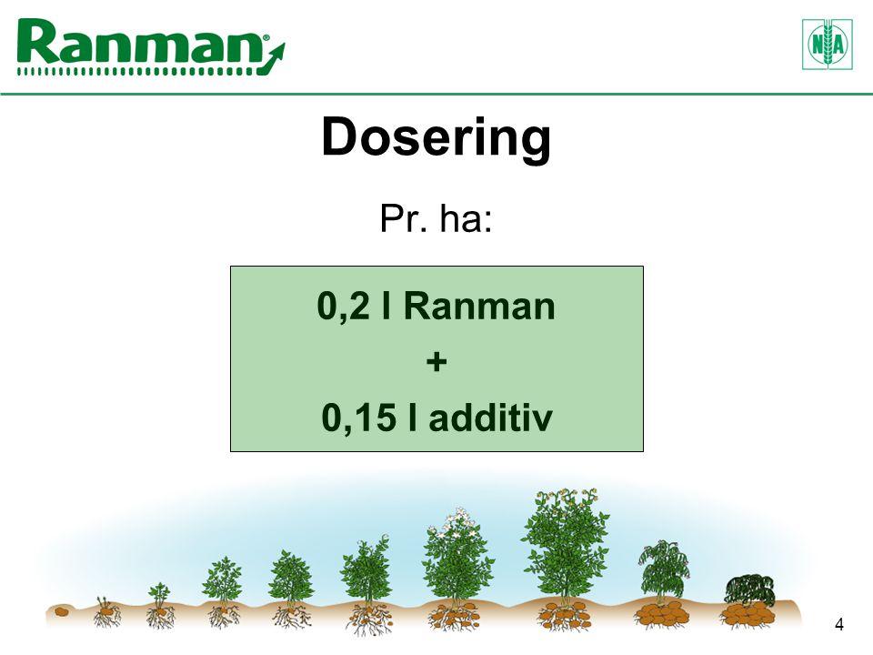 4 Dosering Pr. ha: 0,2 l Ranman + 0,15 l additiv