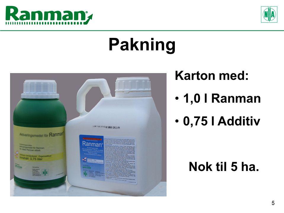 5 Pakning Karton med: 1,0 l Ranman 0,75 l Additiv Nok til 5 ha.