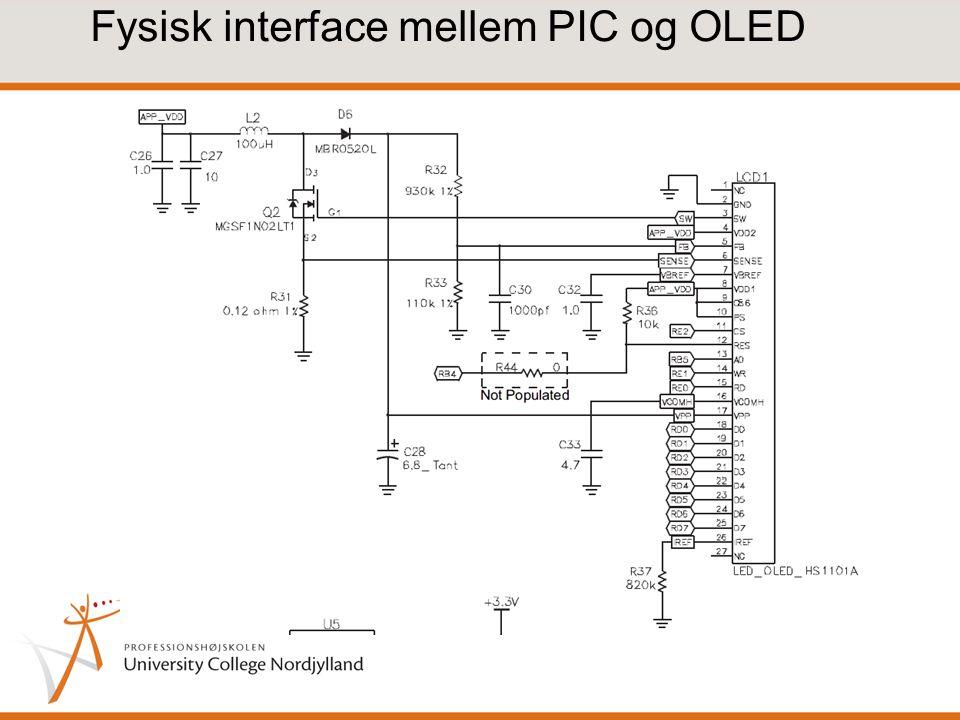 Fysisk interface mellem PIC og OLED