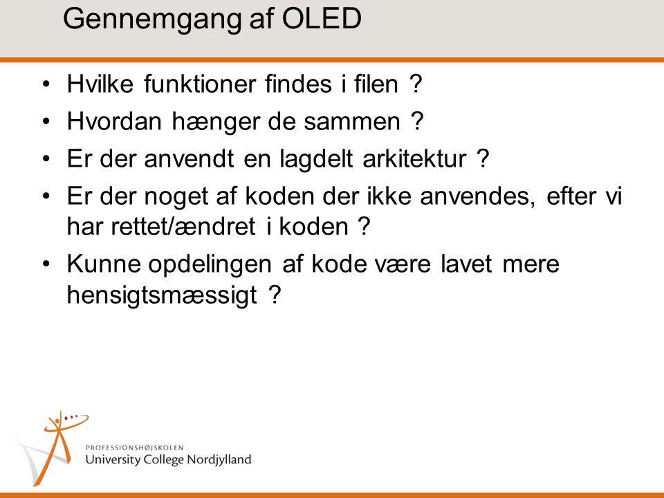 Gennemgang af OLED Hvilke funktioner findes i filen .