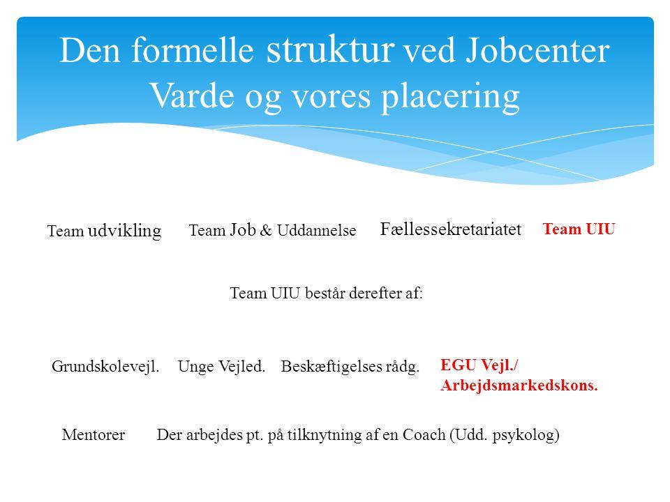 Team udvikling Team Job & Uddannelse Fællessekretariatet Team UIU Grundskolevejl.Unge Vejled.Beskæftigelses rådg.