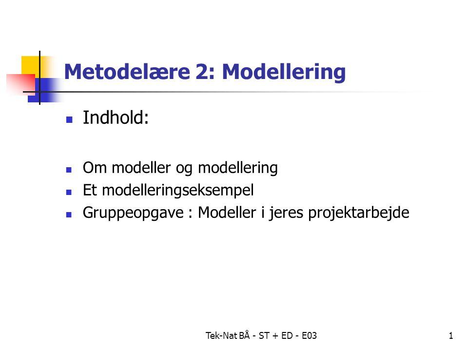 Tek-Nat BÅ - ST + ED - E031 Metodelære 2: Modellering Indhold: Om modeller og modellering Et modelleringseksempel Gruppeopgave : Modeller i jeres projektarbejde
