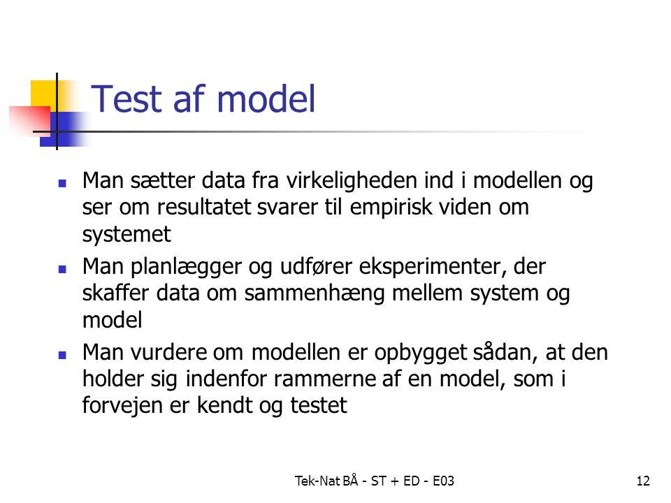 Tek-Nat BÅ - ST + ED - E0312 Test af model Man sætter data fra virkeligheden ind i modellen og ser om resultatet svarer til empirisk viden om systemet Man planlægger og udfører eksperimenter, der skaffer data om sammenhæng mellem system og model Man vurdere om modellen er opbygget sådan, at den holder sig indenfor rammerne af en model, som i forvejen er kendt og testet