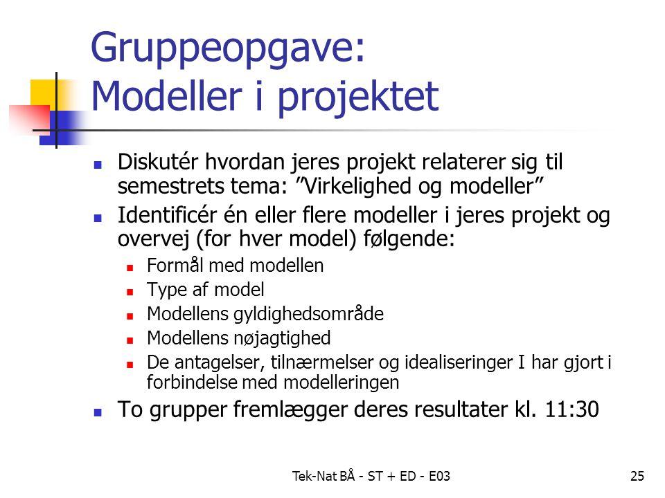 Tek-Nat BÅ - ST + ED - E0325 Gruppeopgave: Modeller i projektet Diskutér hvordan jeres projekt relaterer sig til semestrets tema: Virkelighed og modeller Identificér én eller flere modeller i jeres projekt og overvej (for hver model) følgende: Formål med modellen Type af model Modellens gyldighedsområde Modellens nøjagtighed De antagelser, tilnærmelser og idealiseringer I har gjort i forbindelse med modelleringen To grupper fremlægger deres resultater kl.