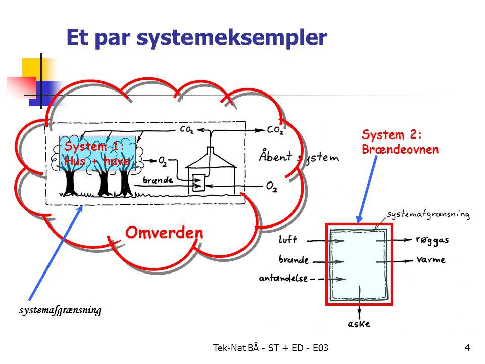 Tek-Nat BÅ - ST + ED - E034 Et par systemeksempler System 1: Hus + have Omverden systemafgrænsning System 2: Brændeovnen