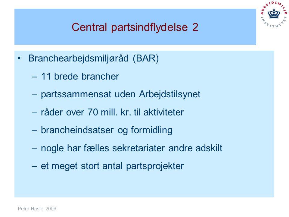 Peter Hasle, 2006 Central partsindflydelse 2 Branchearbejdsmiljøråd (BAR) –11 brede brancher –partssammensat uden Arbejdstilsynet –råder over 70 mill.
