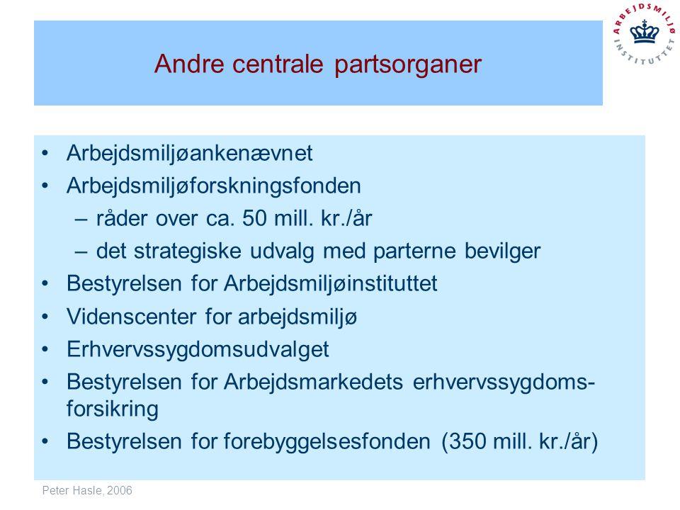 Peter Hasle, 2006 Andre centrale partsorganer Arbejdsmiljøankenævnet Arbejdsmiljøforskningsfonden –råder over ca.