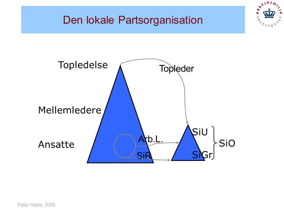 Peter Hasle, 2006 Den lokale Partsorganisation Topledelse Mellemledere Ansatte SiR Arb.L.