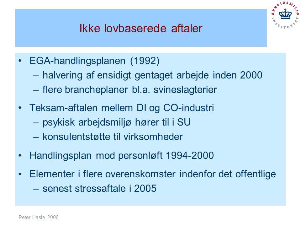 Peter Hasle, 2006 Ikke lovbaserede aftaler EGA-handlingsplanen (1992) –halvering af ensidigt gentaget arbejde inden 2000 –flere brancheplaner bl.a.