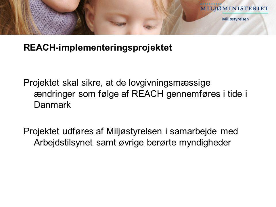 REACH-implementeringsprojektet Projektet skal sikre, at de lovgivningsmæssige ændringer som følge af REACH gennemføres i tide i Danmark Projektet udføres af Miljøstyrelsen i samarbejde med Arbejdstilsynet samt øvrige berørte myndigheder