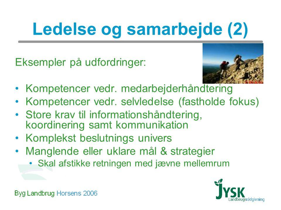 Ledelse og samarbejde (2) Eksempler på udfordringer: Kompetencer vedr.