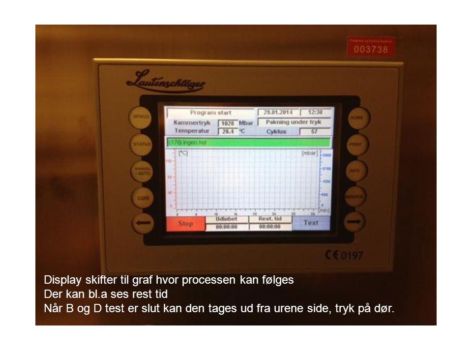 Display skifter til graf hvor processen kan følges Der kan bl.a ses rest tid Når B og D test er slut kan den tages ud fra urene side, tryk på dør.
