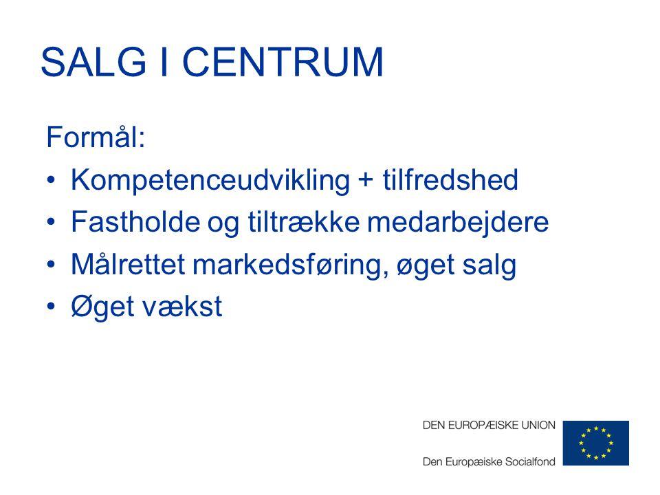 SALG I CENTRUM Formål: Kompetenceudvikling + tilfredshed Fastholde og tiltrække medarbejdere Målrettet markedsføring, øget salg Øget vækst