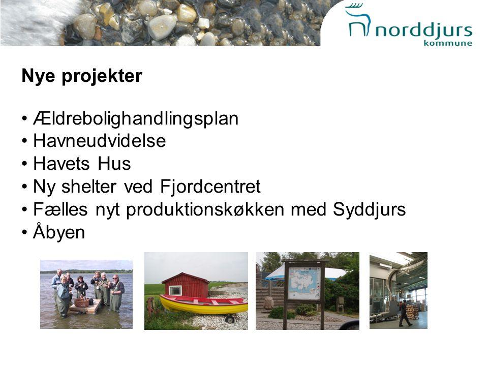 Nye projekter Ældrebolighandlingsplan Havneudvidelse Havets Hus Ny shelter ved Fjordcentret Fælles nyt produktionskøkken med Syddjurs Åbyen