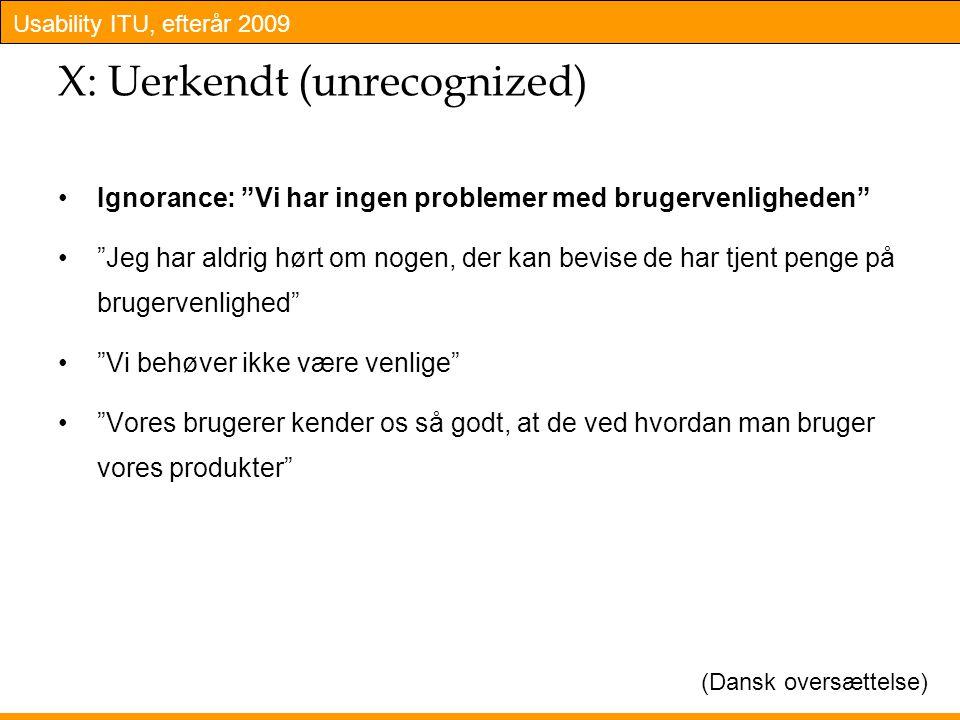 Usability ITU, efterår 2009 X: Uerkendt (unrecognized) Ignorance: Vi har ingen problemer med brugervenligheden Jeg har aldrig hørt om nogen, der kan bevise de har tjent penge på brugervenlighed Vi behøver ikke være venlige Vores brugerer kender os så godt, at de ved hvordan man bruger vores produkter (Dansk oversættelse)