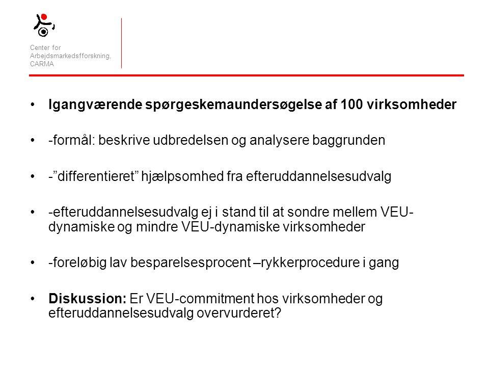 Center for Arbejdsmarkedsfforskning, CARMA Igangværende spørgeskemaundersøgelse af 100 virksomheder -formål: beskrive udbredelsen og analysere baggrunden - differentieret hjælpsomhed fra efteruddannelsesudvalg -efteruddannelsesudvalg ej i stand til at sondre mellem VEU- dynamiske og mindre VEU-dynamiske virksomheder -foreløbig lav besparelsesprocent –rykkerprocedure i gang Diskussion: Er VEU-commitment hos virksomheder og efteruddannelsesudvalg overvurderet