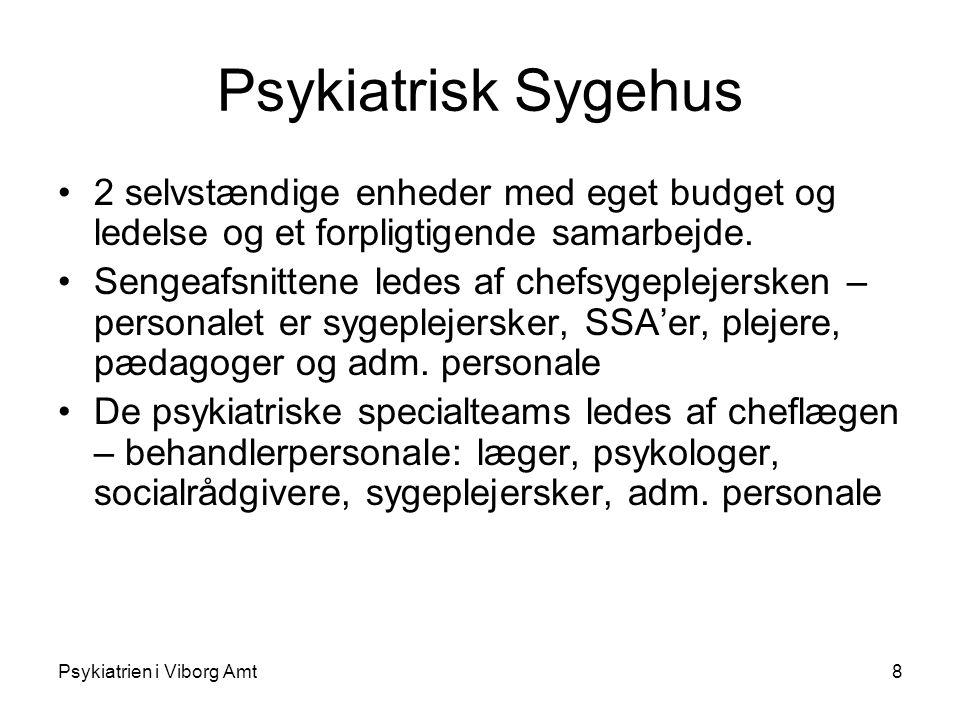 Psykiatrien i Viborg Amt8 Psykiatrisk Sygehus 2 selvstændige enheder med eget budget og ledelse og et forpligtigende samarbejde.