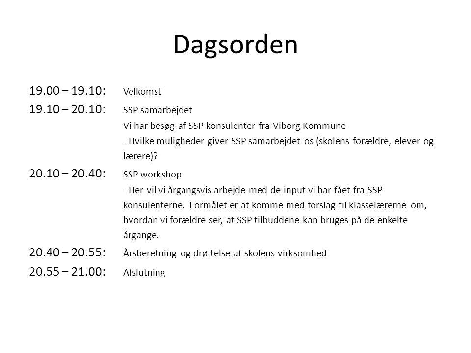 Dagsorden 19.00 – 19.10: Velkomst 19.10 – 20.10: SSP samarbejdet Vi har besøg af SSP konsulenter fra Viborg Kommune - Hvilke muligheder giver SSP samarbejdet os (skolens forældre, elever og lærere).