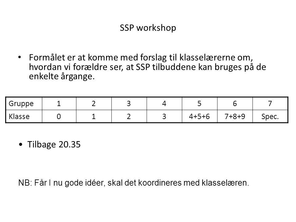 SSP workshop Formålet er at komme med forslag til klasselærerne om, hvordan vi forældre ser, at SSP tilbuddene kan bruges på de enkelte årgange.
