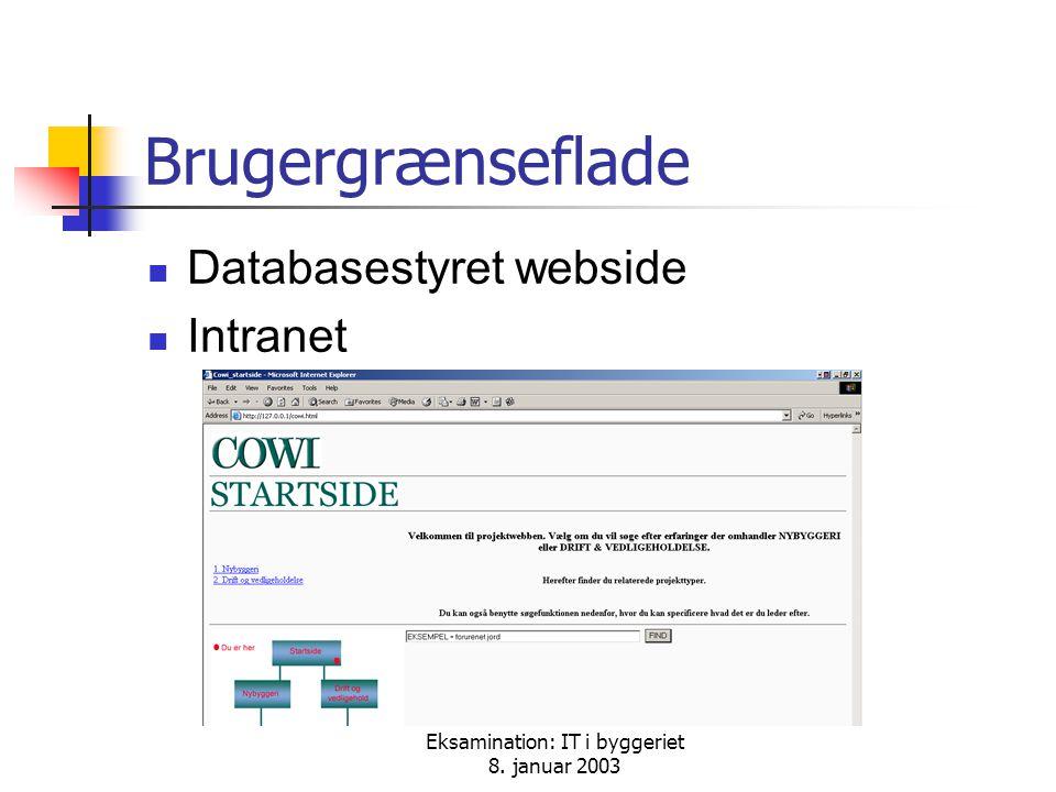 Eksamination: IT i byggeriet 8. januar 2003 Brugergrænseflade Databasestyret webside Intranet