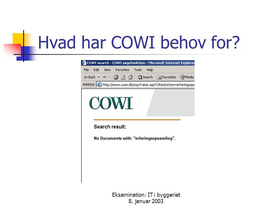 Eksamination: IT i byggeriet 8. januar 2003 Hvad har COWI behov for