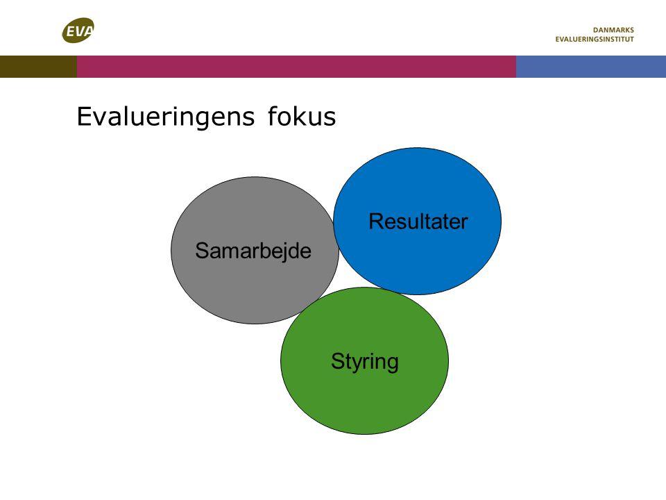 Evalueringens fokus Samarbejde Resultater Styring