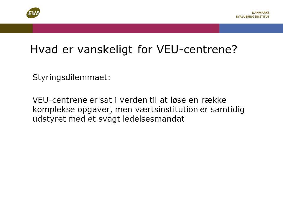 Hvad er vanskeligt for VEU-centrene.