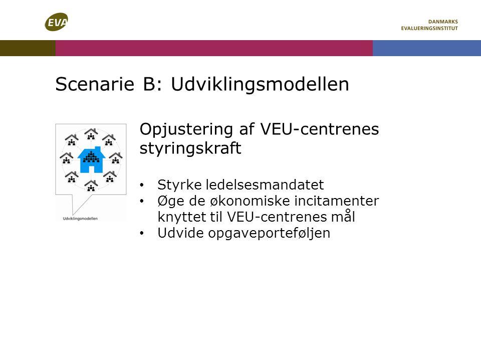 Scenarie B: Udviklingsmodellen Opjustering af VEU-centrenes styringskraft Styrke ledelsesmandatet Øge de økonomiske incitamenter knyttet til VEU-centrenes mål Udvide opgaveporteføljen