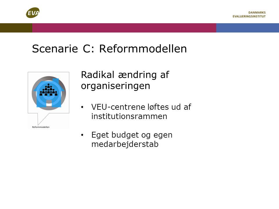 Scenarie C: Reformmodellen Radikal ændring af organiseringen VEU-centrene løftes ud af institutionsrammen Eget budget og egen medarbejderstab