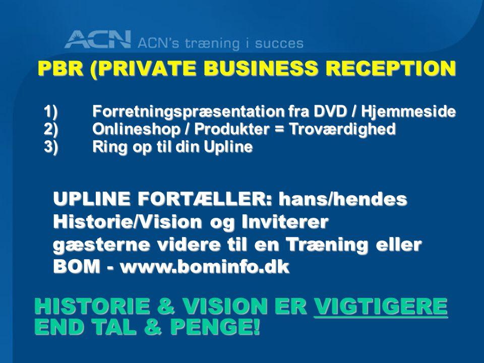 PBR (PRIVATE BUSINESS RECEPTION 1)Forretningspræsentation fra DVD / Hjemmeside 1)Forretningspræsentation fra DVD / Hjemmeside 2)Onlineshop / Produkter = Troværdighed 2)Onlineshop / Produkter = Troværdighed 3) Ring op til din Upline 3) Ring op til din Upline HISTORIE & VISION ER VIGTIGERE END TAL & PENGE.