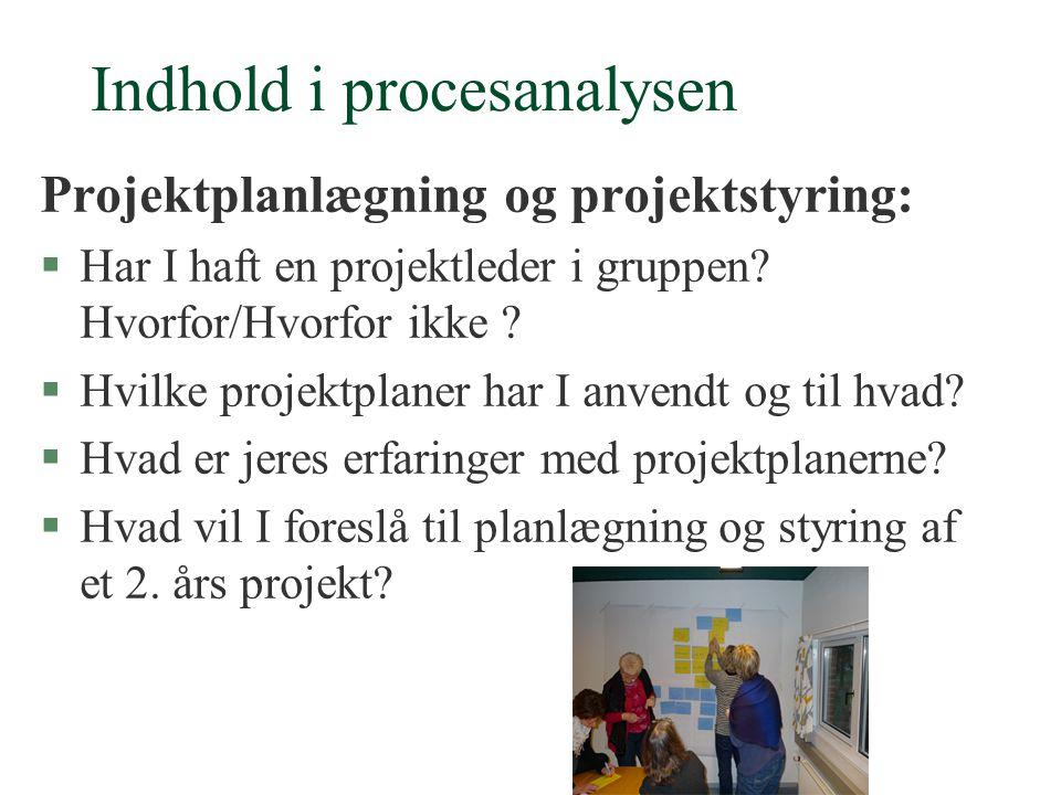 Indhold i procesanalysen Projektplanlægning og projektstyring: §Har I haft en projektleder i gruppen.