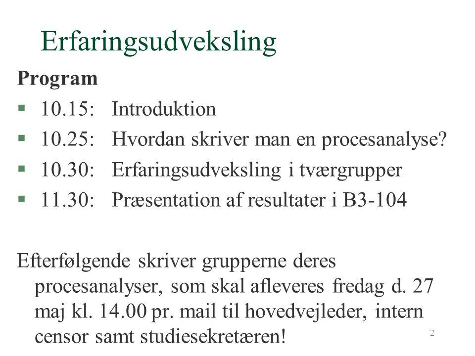 2 Erfaringsudveksling Program § 10.15:Introduktion § 10.25:Hvordan skriver man en procesanalyse.