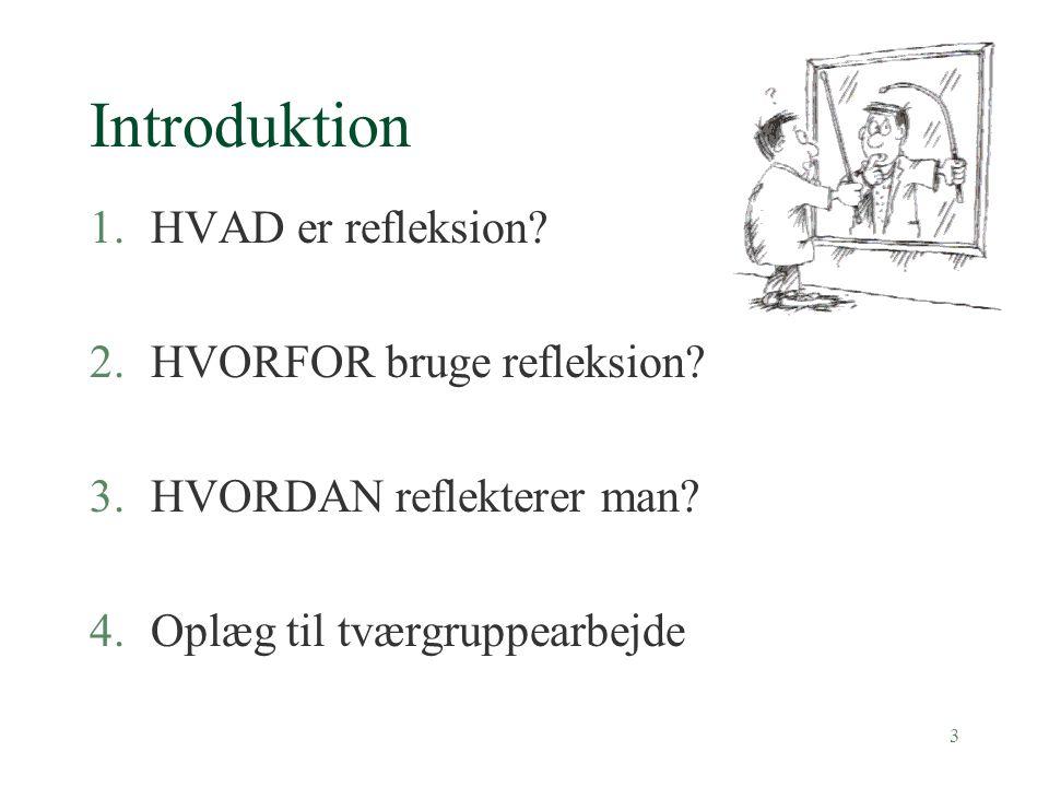3 Introduktion 1.HVAD er refleksion.2.HVORFOR bruge refleksion.