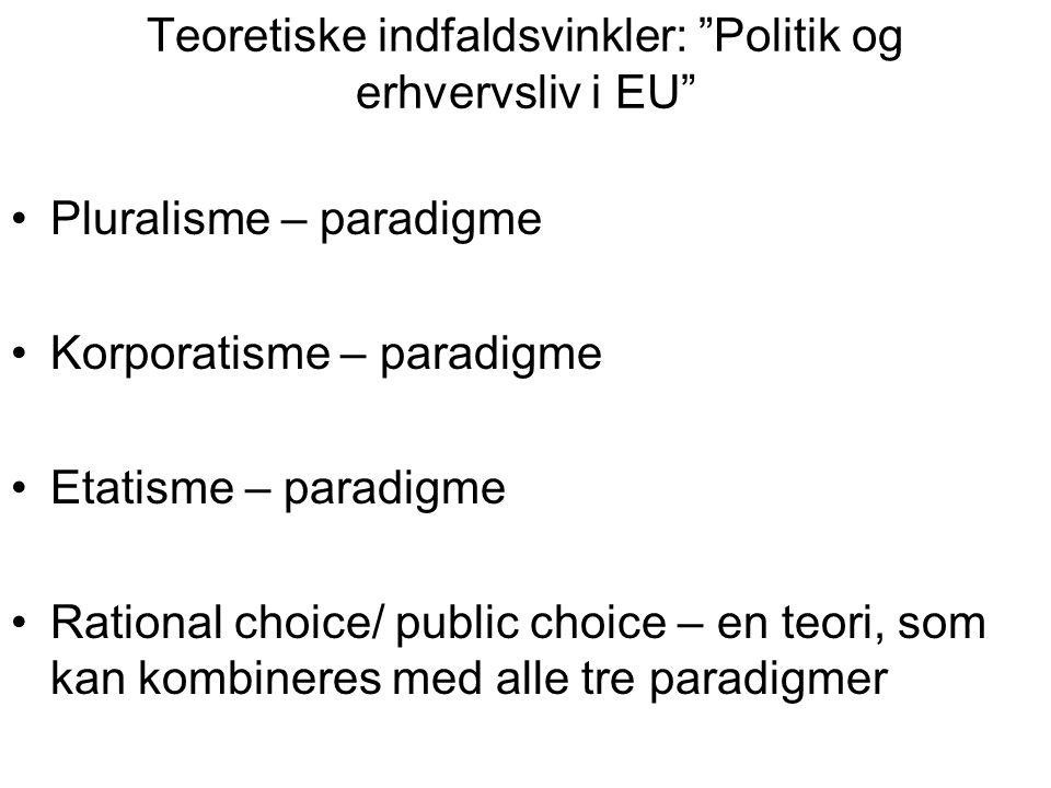 Teoretiske indfaldsvinkler: Politik og erhvervsliv i EU Pluralisme – paradigme Korporatisme – paradigme Etatisme – paradigme Rational choice/ public choice – en teori, som kan kombineres med alle tre paradigmer