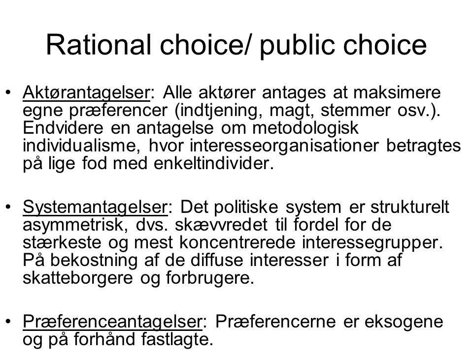 Rational choice/ public choice Aktørantagelser: Alle aktører antages at maksimere egne præferencer (indtjening, magt, stemmer osv.).