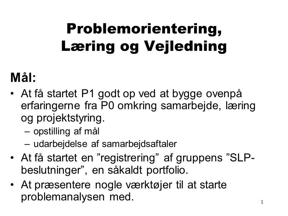 1 Problemorientering, Læring og Vejledning Mål: At få startet P1 godt op ved at bygge ovenpå erfaringerne fra P0 omkring samarbejde, læring og projektstyring.