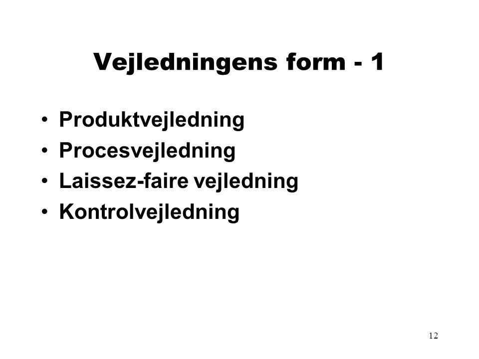 12 Vejledningens form - 1 Produktvejledning Procesvejledning Laissez-faire vejledning Kontrolvejledning