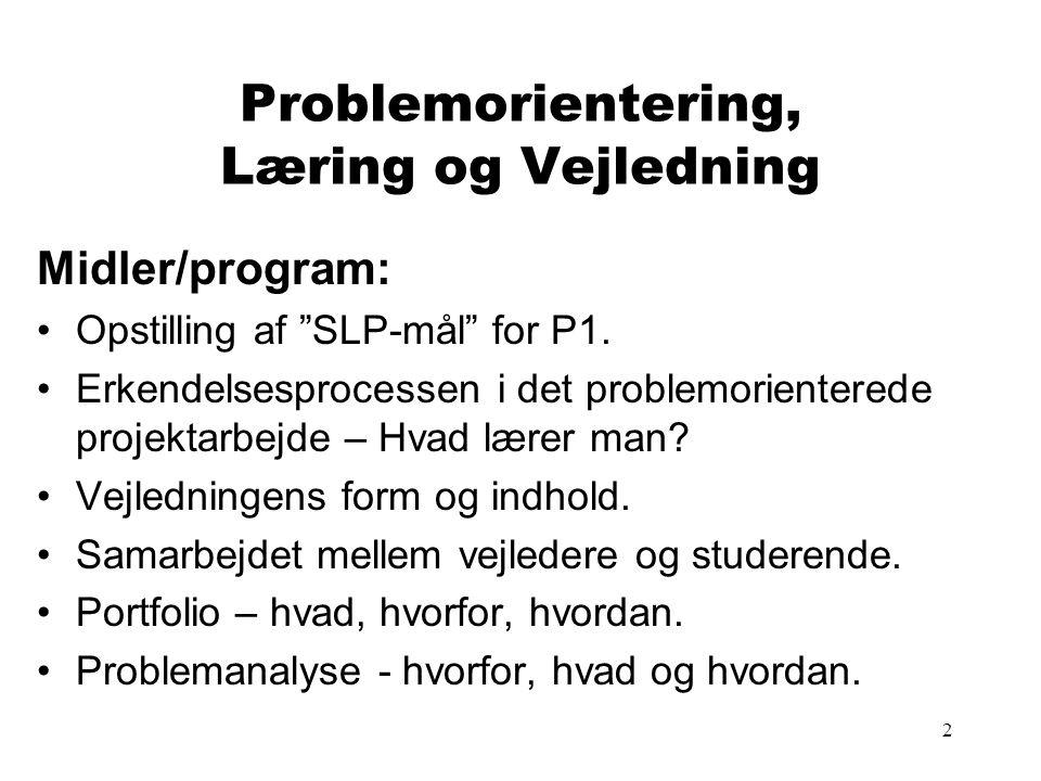 2 Problemorientering, Læring og Vejledning Midler/program: Opstilling af SLP-mål for P1.