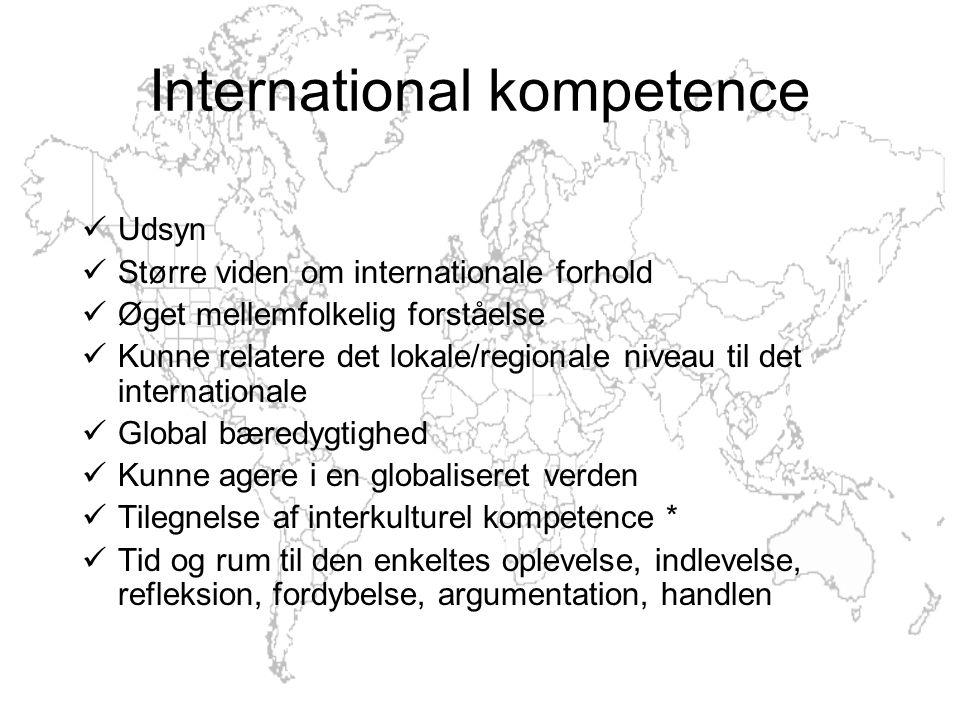 Udsyn Større viden om internationale forhold Øget mellemfolkelig forståelse Kunne relatere det lokale/regionale niveau til det internationale Global bæredygtighed Kunne agere i en globaliseret verden Tilegnelse af interkulturel kompetence * Tid og rum til den enkeltes oplevelse, indlevelse, refleksion, fordybelse, argumentation, handlen International kompetence