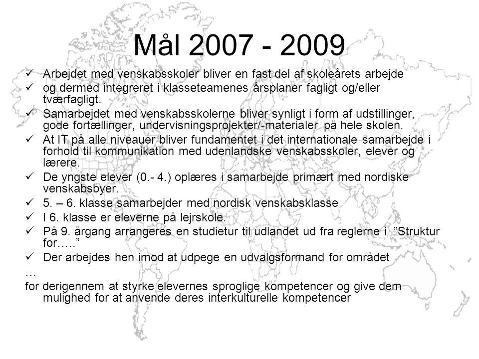 Mål 2007 - 2009 Arbejdet med venskabsskoler bliver en fast del af skoleårets arbejde og dermed integreret i klasseteamenes årsplaner fagligt og/eller tværfagligt.