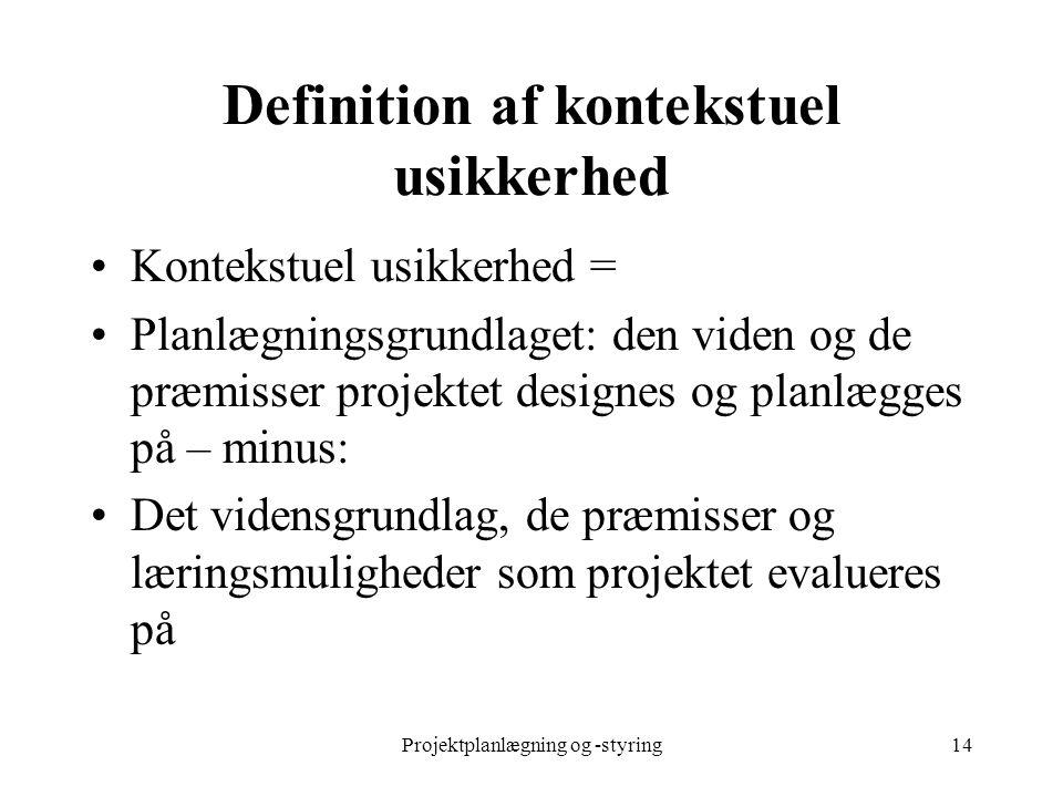 Projektplanlægning og -styring14 Definition af kontekstuel usikkerhed Kontekstuel usikkerhed = Planlægningsgrundlaget: den viden og de præmisser proje