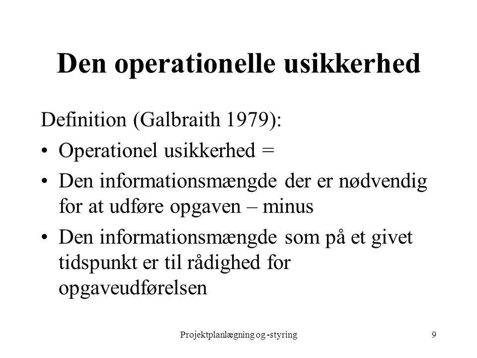 Projektplanlægning og -styring9 Den operationelle usikkerhed Definition (Galbraith 1979): Operationel usikkerhed = Den informationsmængde der er nødve