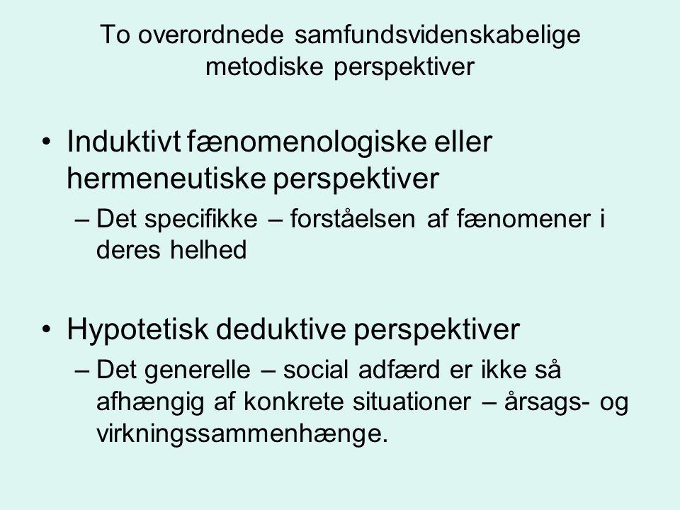 To overordnede samfundsvidenskabelige metodiske perspektiver Induktivt fænomenologiske eller hermeneutiske perspektiver –Det specifikke – forståelsen af fænomener i deres helhed Hypotetisk deduktive perspektiver –Det generelle – social adfærd er ikke så afhængig af konkrete situationer – årsags- og virkningssammenhænge.