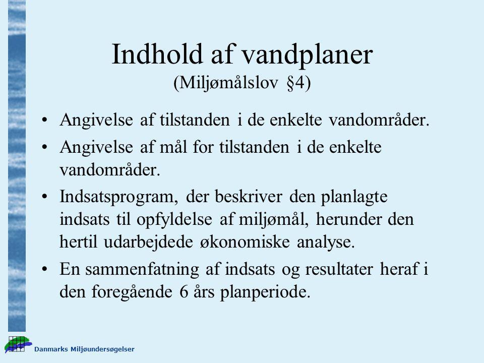 Danmarks Miljøundersøgelser Indhold af vandplaner (Miljømålslov §4) Angivelse af tilstanden i de enkelte vandområder.