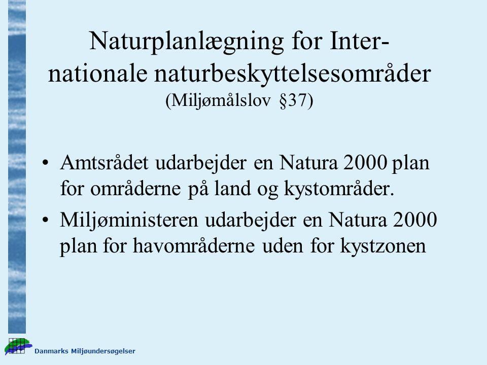 Danmarks Miljøundersøgelser Naturplanlægning for Inter- nationale naturbeskyttelsesområder (Miljømålslov §37) Amtsrådet udarbejder en Natura 2000 plan for områderne på land og kystområder.