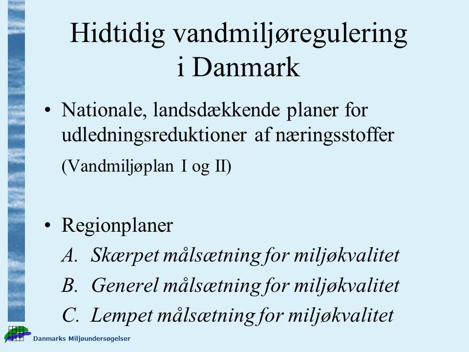 Hidtidig vandmiljøregulering i Danmark Nationale, landsdækkende planer for udledningsreduktioner af næringsstoffer (Vandmiljøplan I og II) Regionplaner A.Skærpet målsætning for miljøkvalitet B.Generel målsætning for miljøkvalitet C.Lempet målsætning for miljøkvalitet