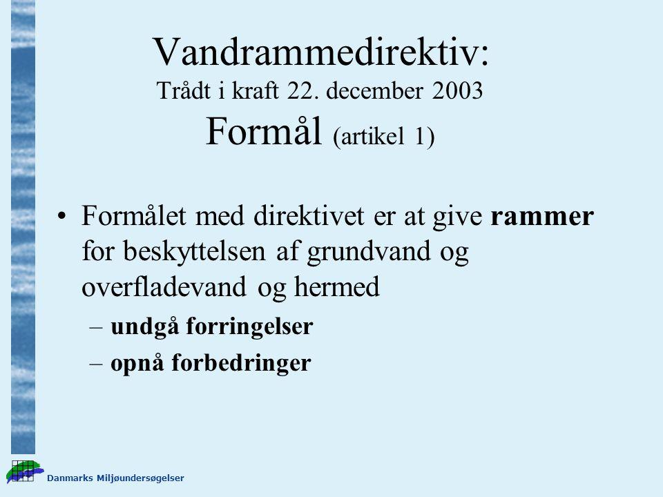 Danmarks Miljøundersøgelser Vandrammedirektiv: Trådt i kraft 22.