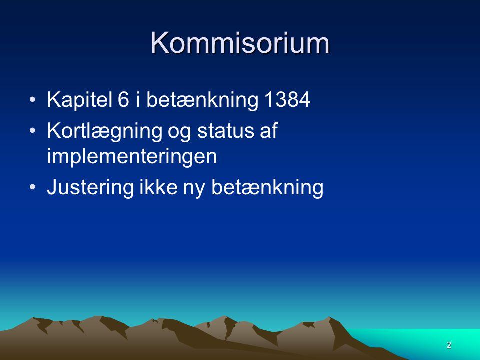 Kommisorium Kapitel 6 i betænkning 1384 Kortlægning og status af implementeringen Justering ikke ny betænkning 2